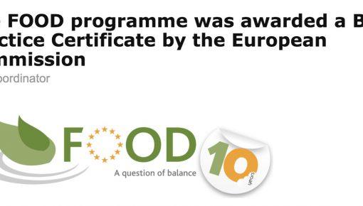 FOODプログラムが欧州委員会から成功事例として表彰されました